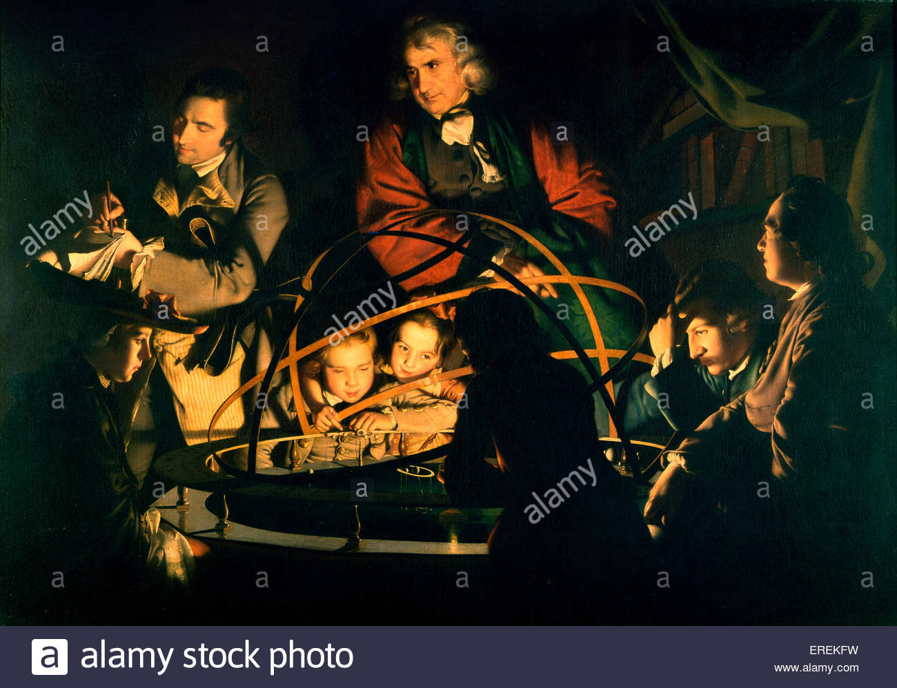 The Orrery by Joseph Wright (of Derby), English painter, 1734 – 1797. Oil painting, 1473 x 2032 mm. First exhibited - Stock Image