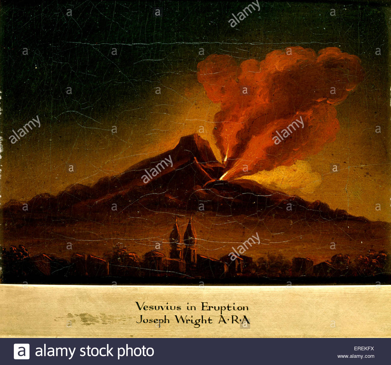 Vesuvius in Erruption by Joseph Wright (of Derby), English painter, 1734 – 1797. - Stock Image