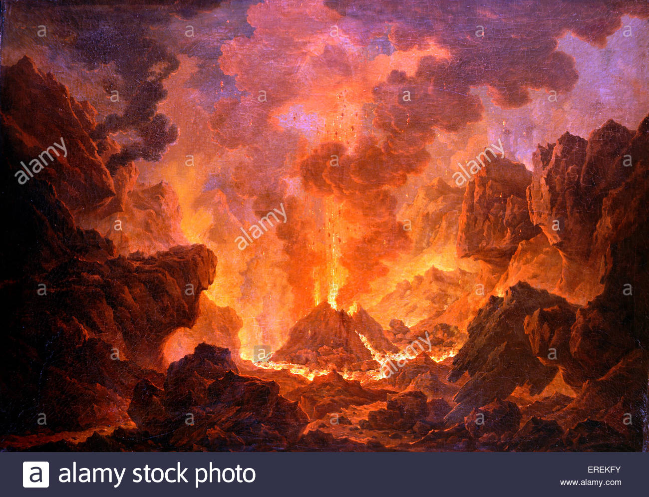 Crater of Vesuvius in Erruption by Joseph Wright (of Derby), English painter, 1734 – 1797. - Stock Image