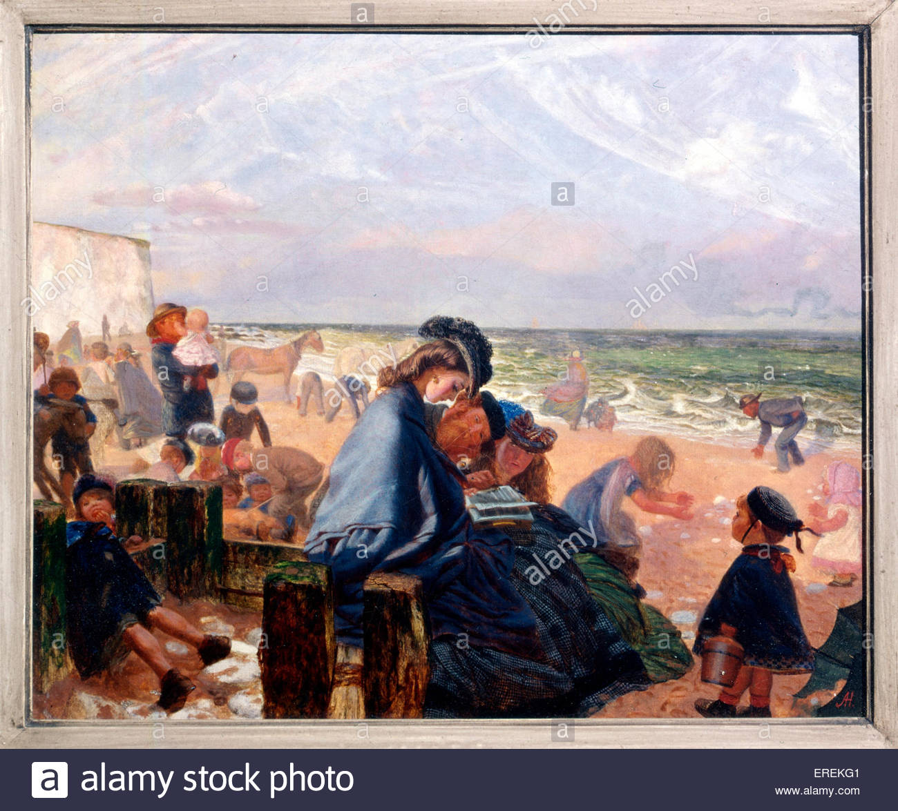 Ramsgate Sands by Arthur Boyd Houghton, British painter (1836-1875). 1861, oil painting, support: 241 x 298 mm. - Stock Image