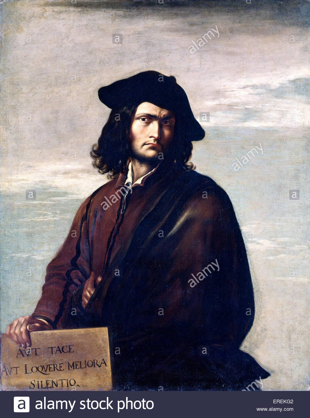 Self Portrait by Salvatore Rosa, Italian painter, printmaker and poet (1615 - 1673). Inscription in Latin translates - Stock Image