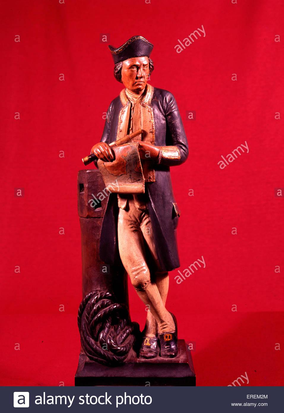 Captain Cook Statuette, Barking Abbey, Essex, UK. Painted wood. Captain James Cook ( 1728 – 1779), British explorer, - Stock Image