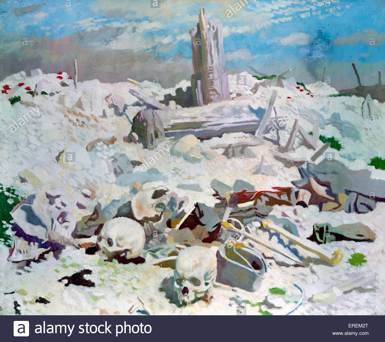 Thiepval  by Sir William Orpen, 1917 (painting). Scene from Word War I. Village in Picardie, France destroyed during - Stock Image