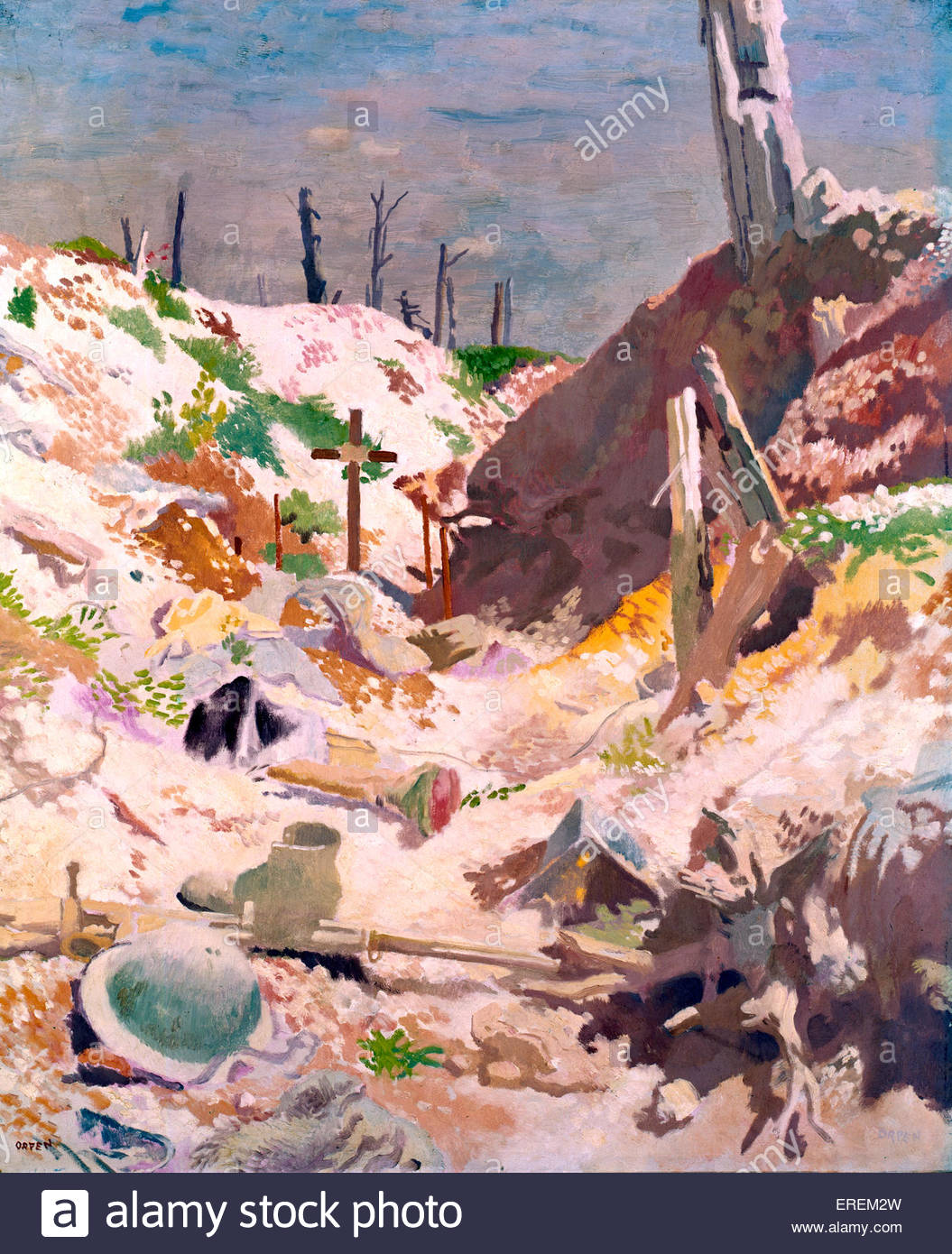 A Grave in a Trench  by Sir William Orpen, 1917 (painting).  Grave with wooden marker cross. Helmet, boot and rifle - Stock Image