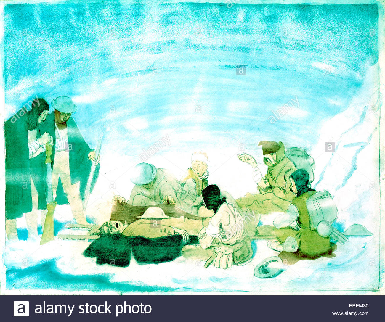A death among the wounded in the snow by Sir William Orpen . Drawing and watercolour. 450 mm x 584 mm.  WO: Irish - Stock Image
