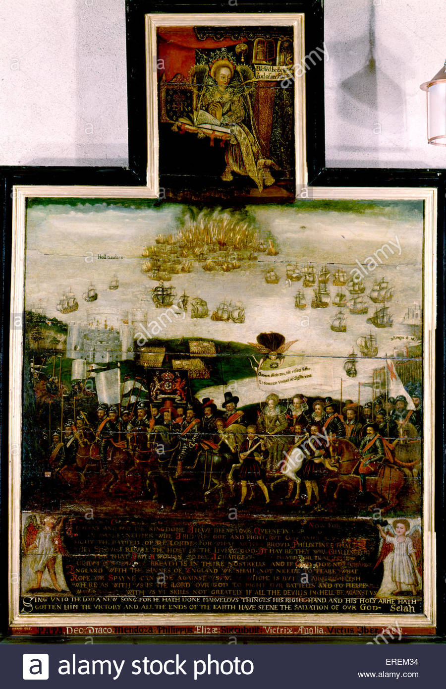 Spanish Armada Dyptich, St Faith's church, Kings Lynn, Norfolk. Depiction of failed Spanish naval invasion of - Stock Image