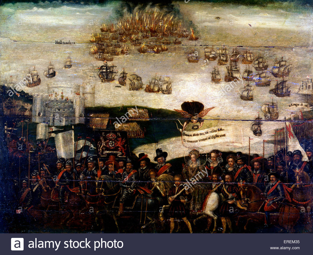 Spanish Armada Dyptich, St Faith's church, Kings Lynn, Norfolk.Detail. Depiction of failed Spanish naval invasion - Stock Image