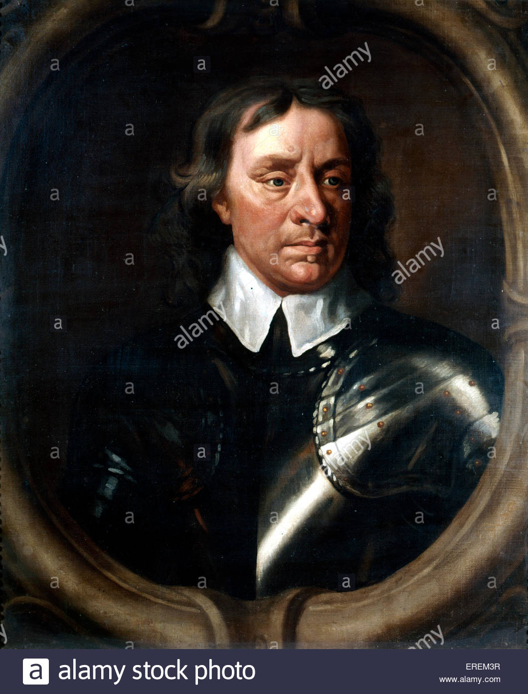 Oliver Cromwell by Sir Peter Lely (1618-1680).  English military and political leader and Lord Protector of England, - Stock Image