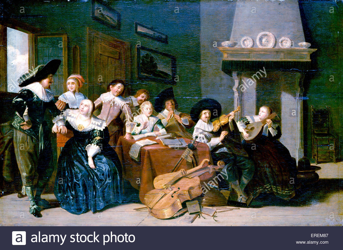 Musical Party by Pieter Codde (1599 – 1678), Dutch painter of genre works, guardroom scenes and portraits. - Stock Image