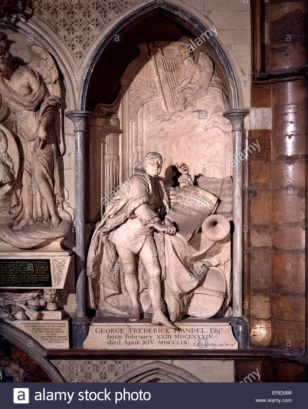 George Frederic Handel monument, Westminster Abbey, London UK. By French sculptor Louis Francois Roubiliac, unveiled - Stock Image