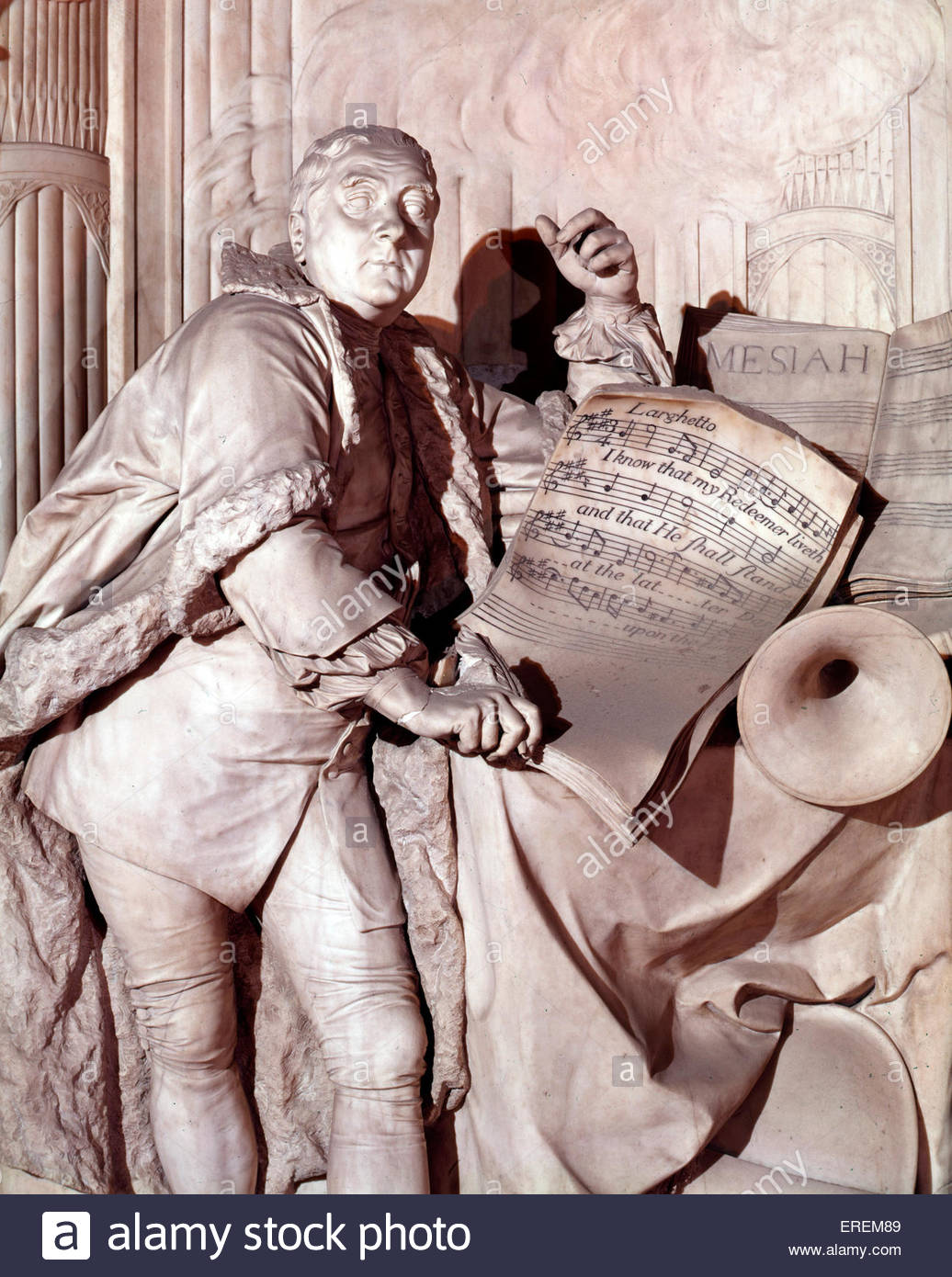 George Frederic Handel monument, , unveiled in 1762. Westminster Abbey, London UK. By French sculptor Louis Francois - Stock Image