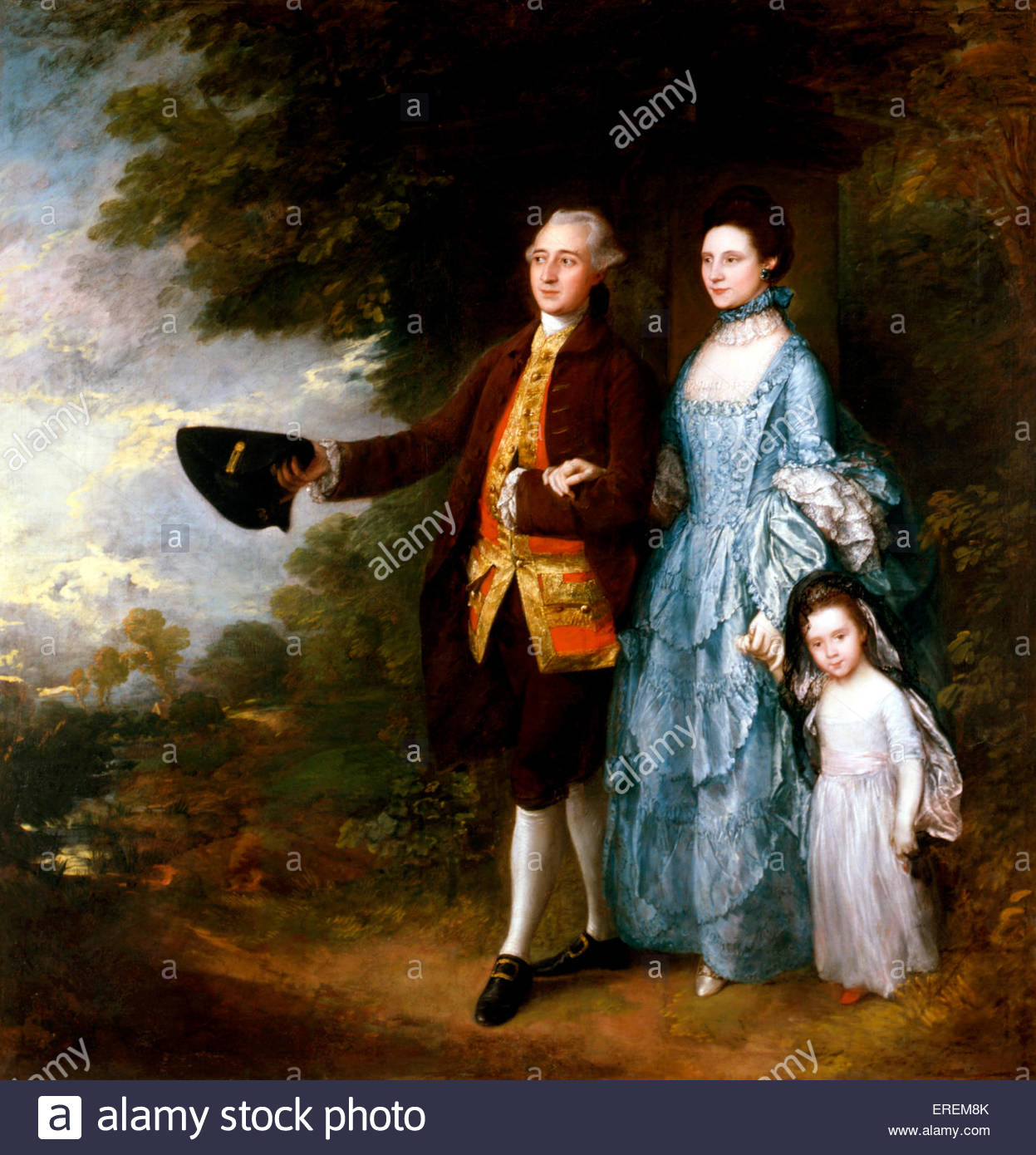 The Byam Family by Thomas Gainsborough, English portrait and landscape painter (1727-1788).Oil on canvas,around - Stock Image