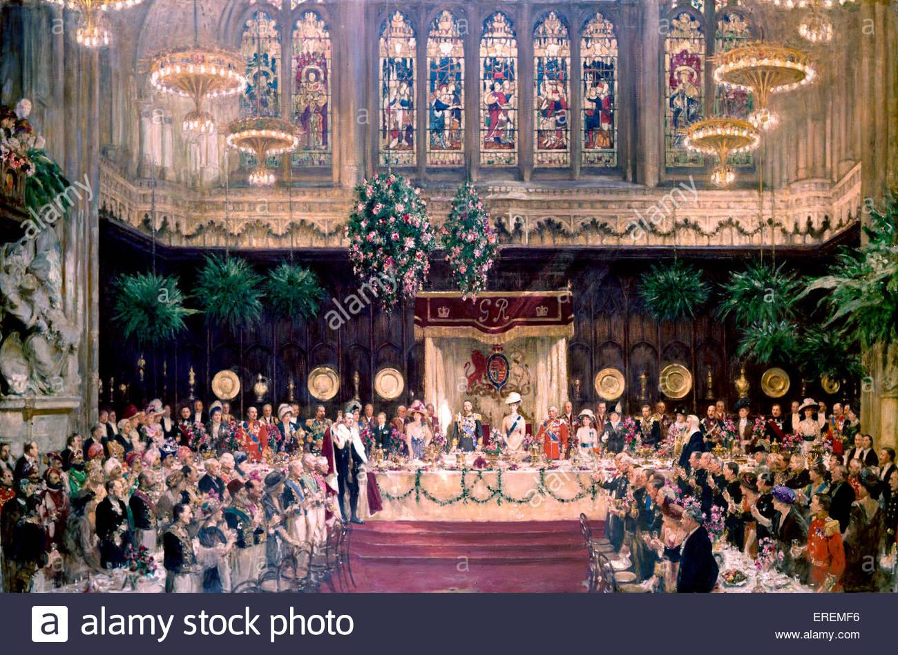 Coronation Luncheon by Solomon Joseph Solomon, British pre-Raphaelite painter (1860 - 1927). Luncheon marking coronation - Stock Image