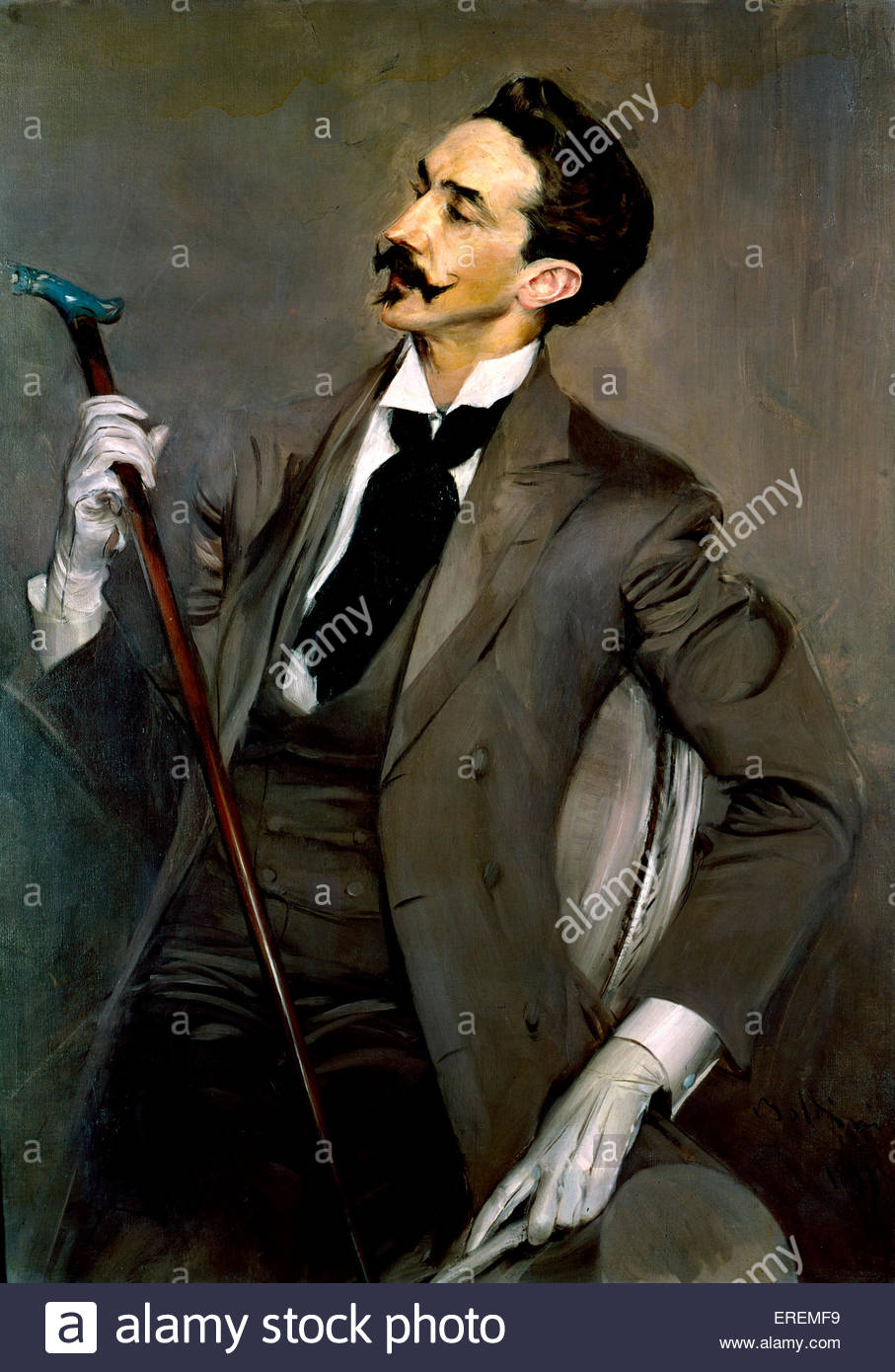 Count Robert de Montesquiou by Antonio Boldini, 1897, oil on canvas. AB: Italian painter (1842 – 1931).R de M: French - Stock Image