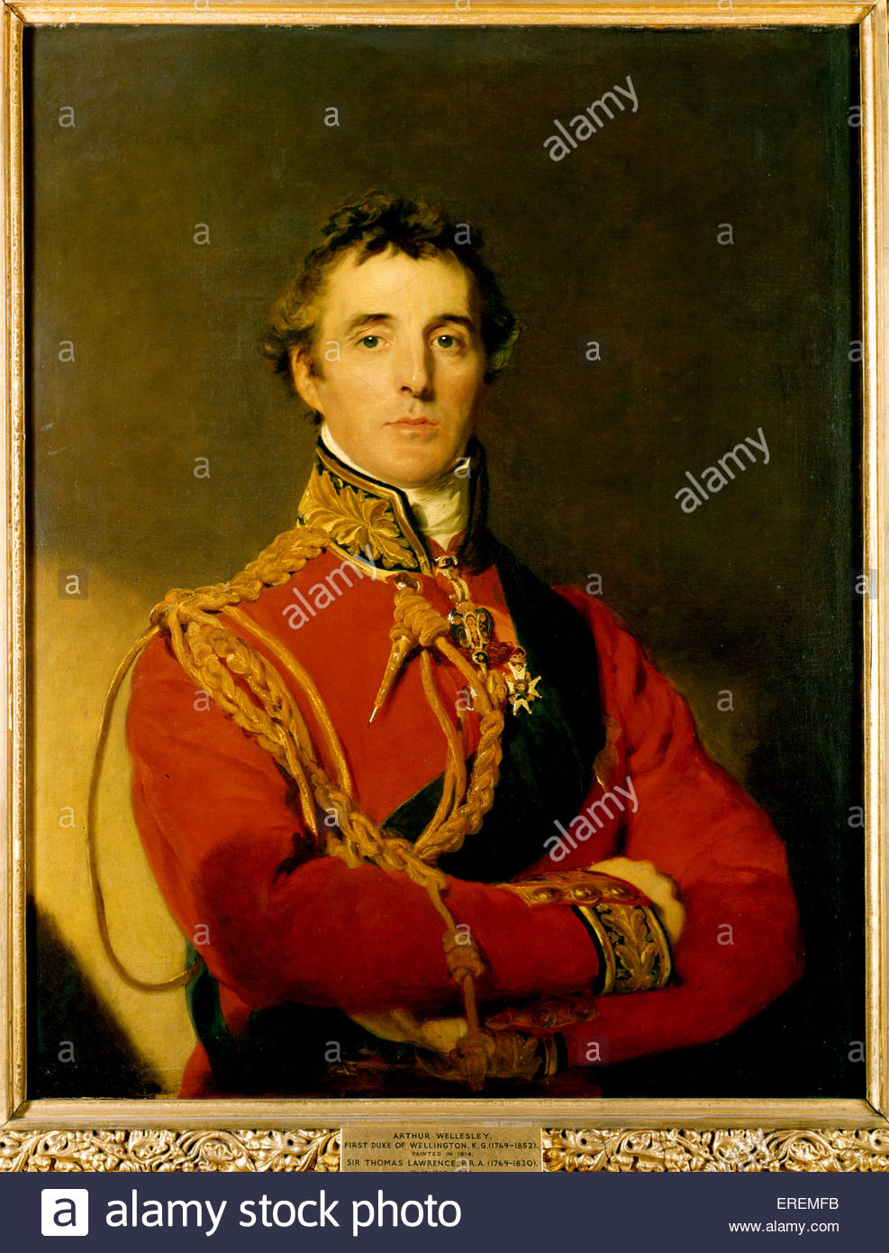 1st Duke of Wellington by Sir Thomas Lawrence, 1814. DW: Field marshal Arthur Wellesey, Anglo- Irish soldier and - Stock Image