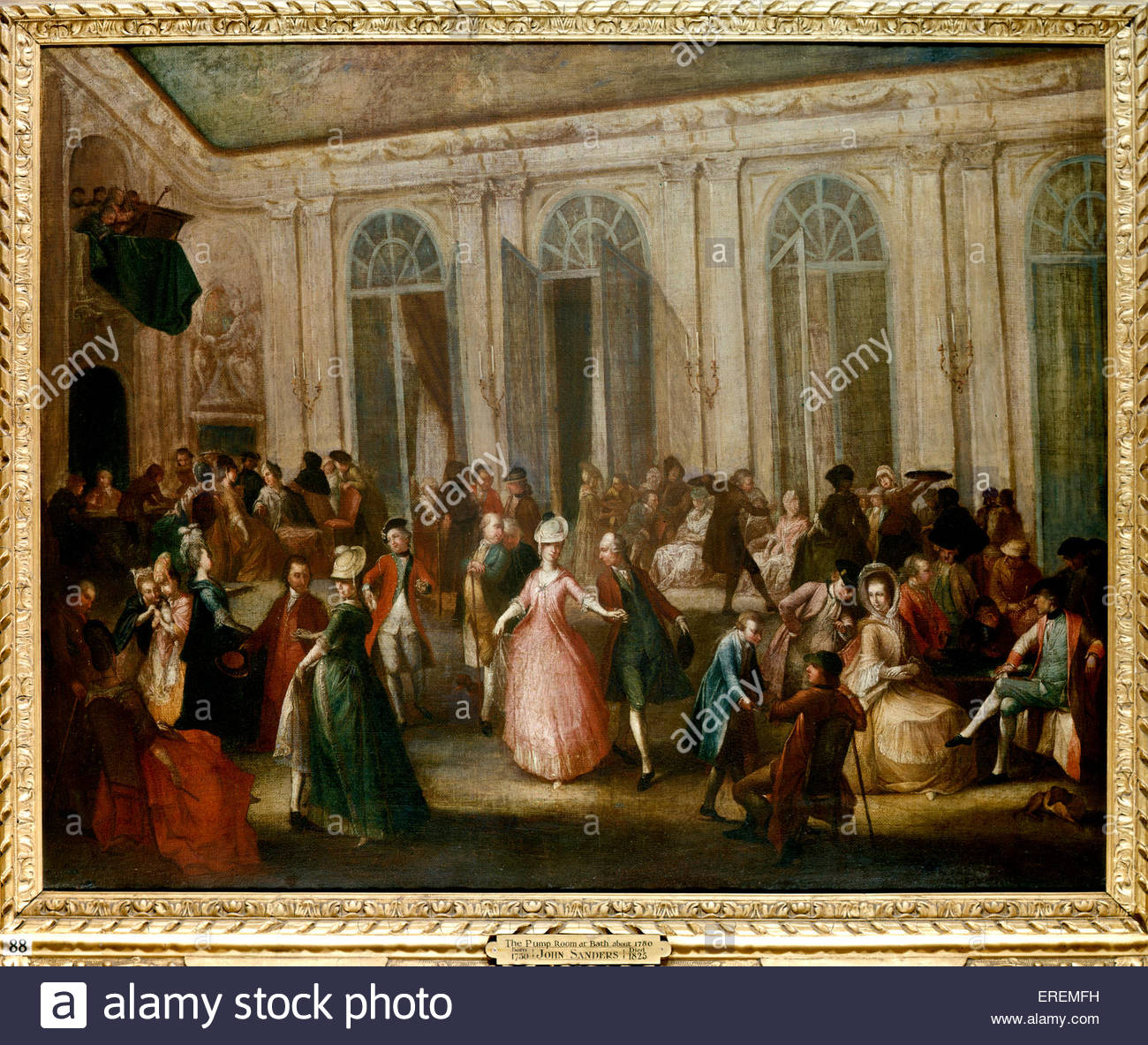 The Pump Room at Bath about 1780 by John Sanders (1750- 1825). - Stock Image