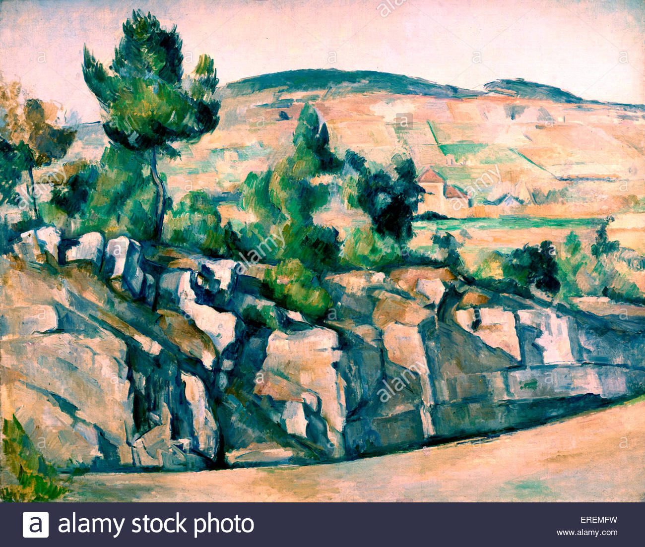Hillside in Provence (' Aix. Paysage Rocheux')  by Paul Cézanne, 1890- 92. Related to landscapes Cézanne - Stock Image