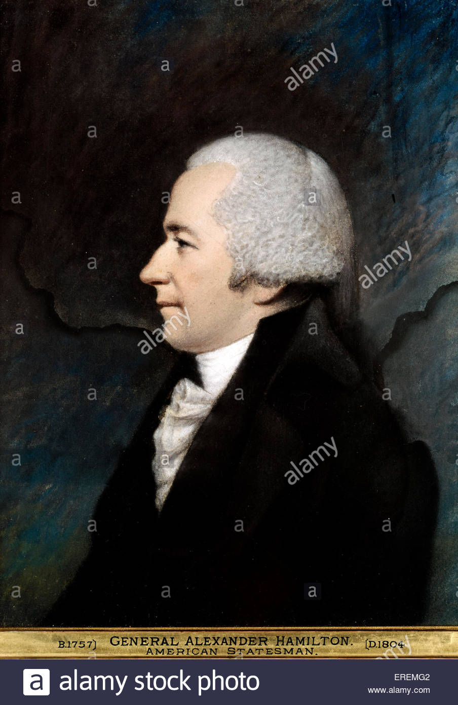General Alexander Hamilton by James Sharples.  United States Secretary of the Treasury, a Founding Father, economist, - Stock Image