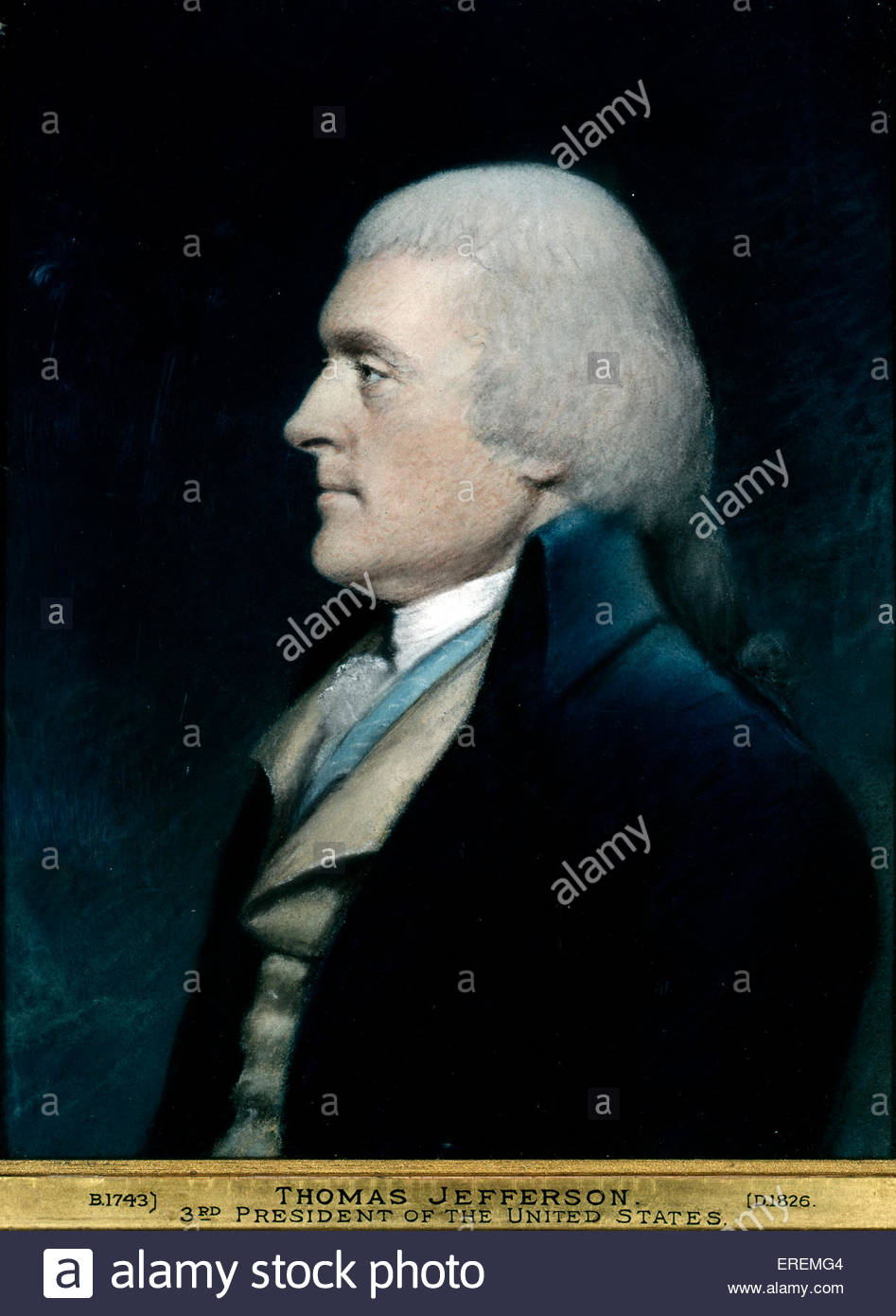 Thomas Jefferson by James Sharples. 3rd  President of the United States of America from 1801- 1809, and principal - Stock Image