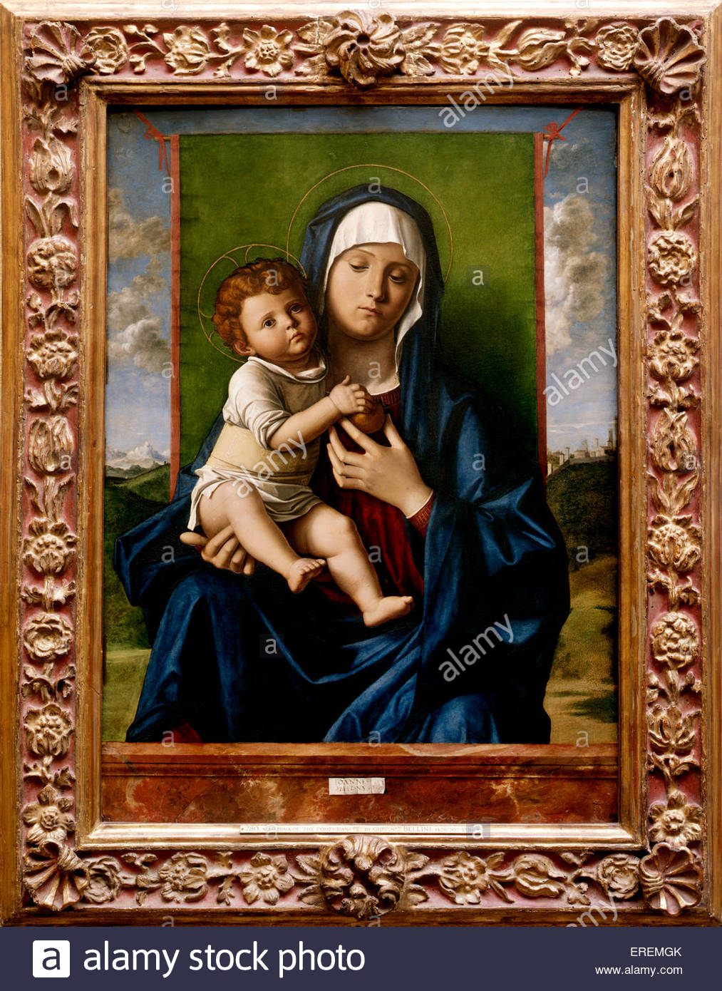 Virgin and Child by Giovanni Bellini, probably 1480-90. Also known as 'The Madonna of the Pomegranate'. - Stock Image