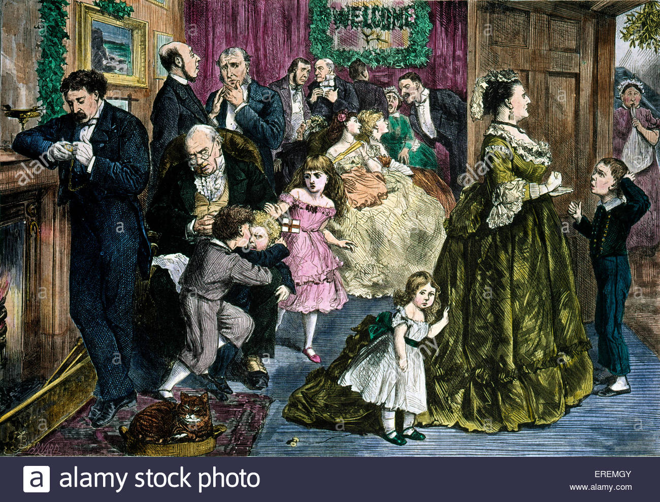 Victorian Christmas card,' The Half Hour before Dinner'. Courtesy of the V&A, London, UK. - Stock Image