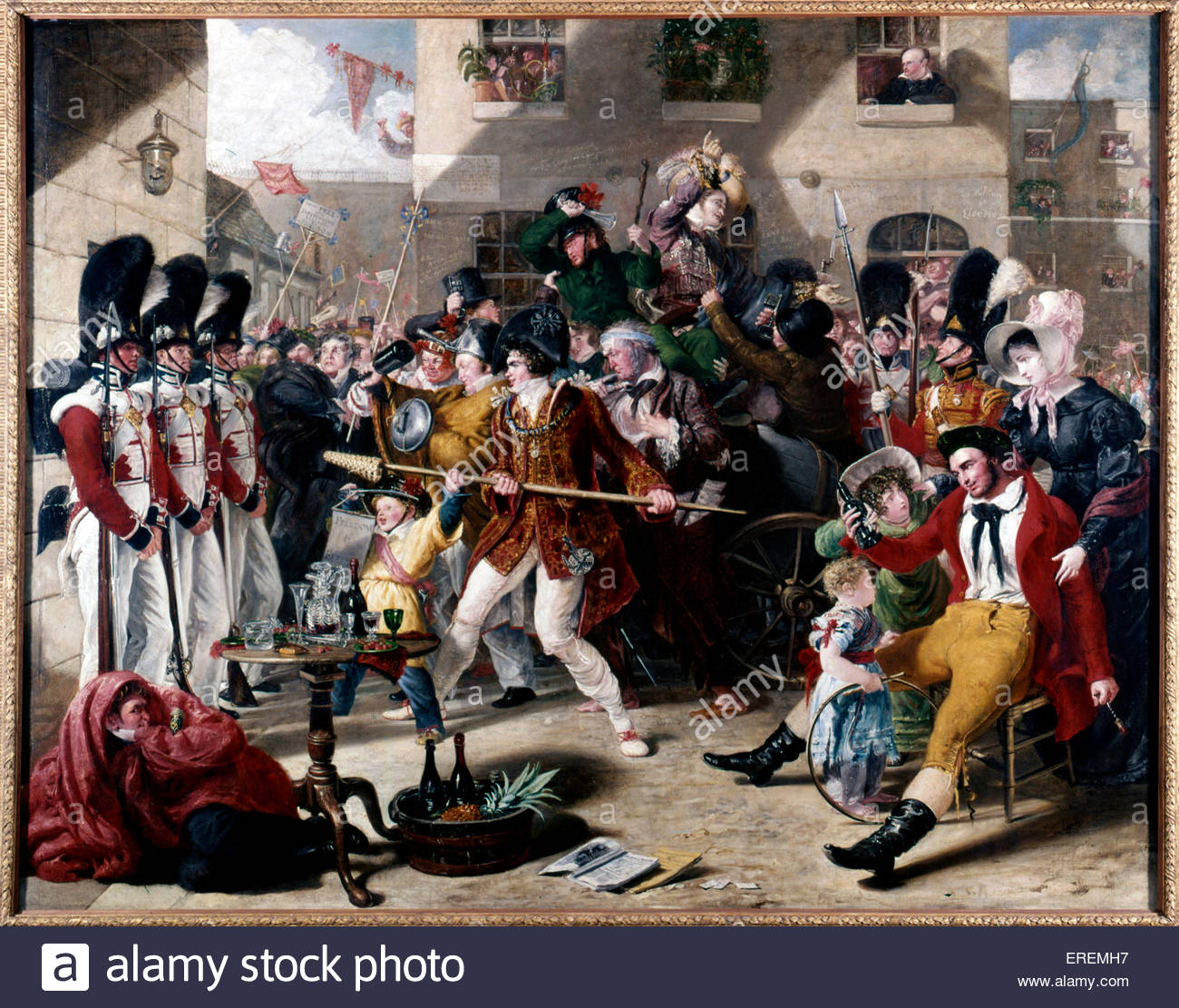 Chairing the Member by Benjamin Robert Haydon, 1828. Oil on canvas,  1524 x 1918 mm. English painter, teacher and - Stock Image