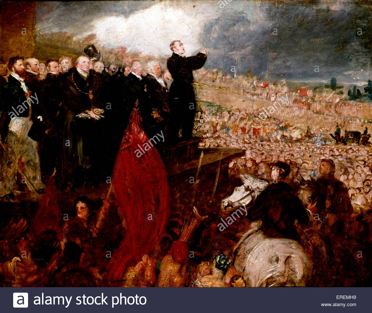 Meeting of the Birmingham Political Union  by Benjamin Robert Haydon, 1832-33.Meeting at Newhall Hill on 16 May, - Stock Image