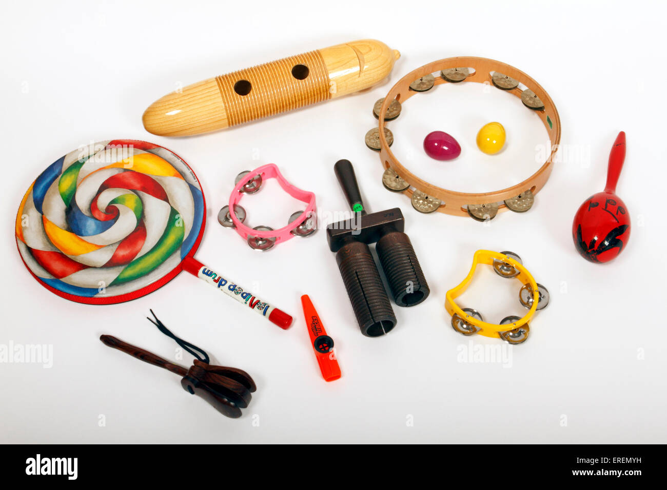 Collection of school percussion instruments for school