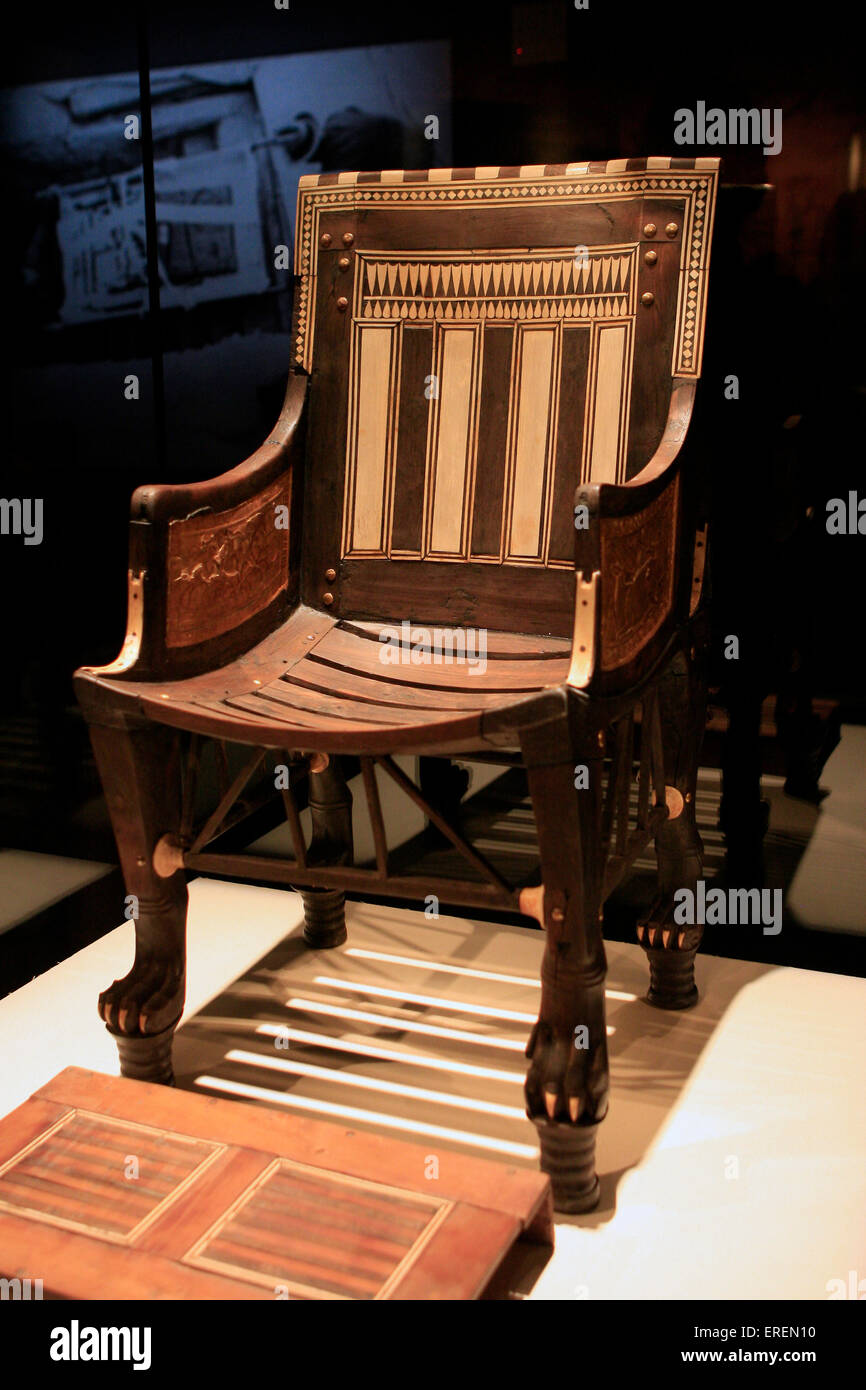 Excellent Child's Chair with Footrest, Dynasty 18, reign of Tutankhamun  NH11