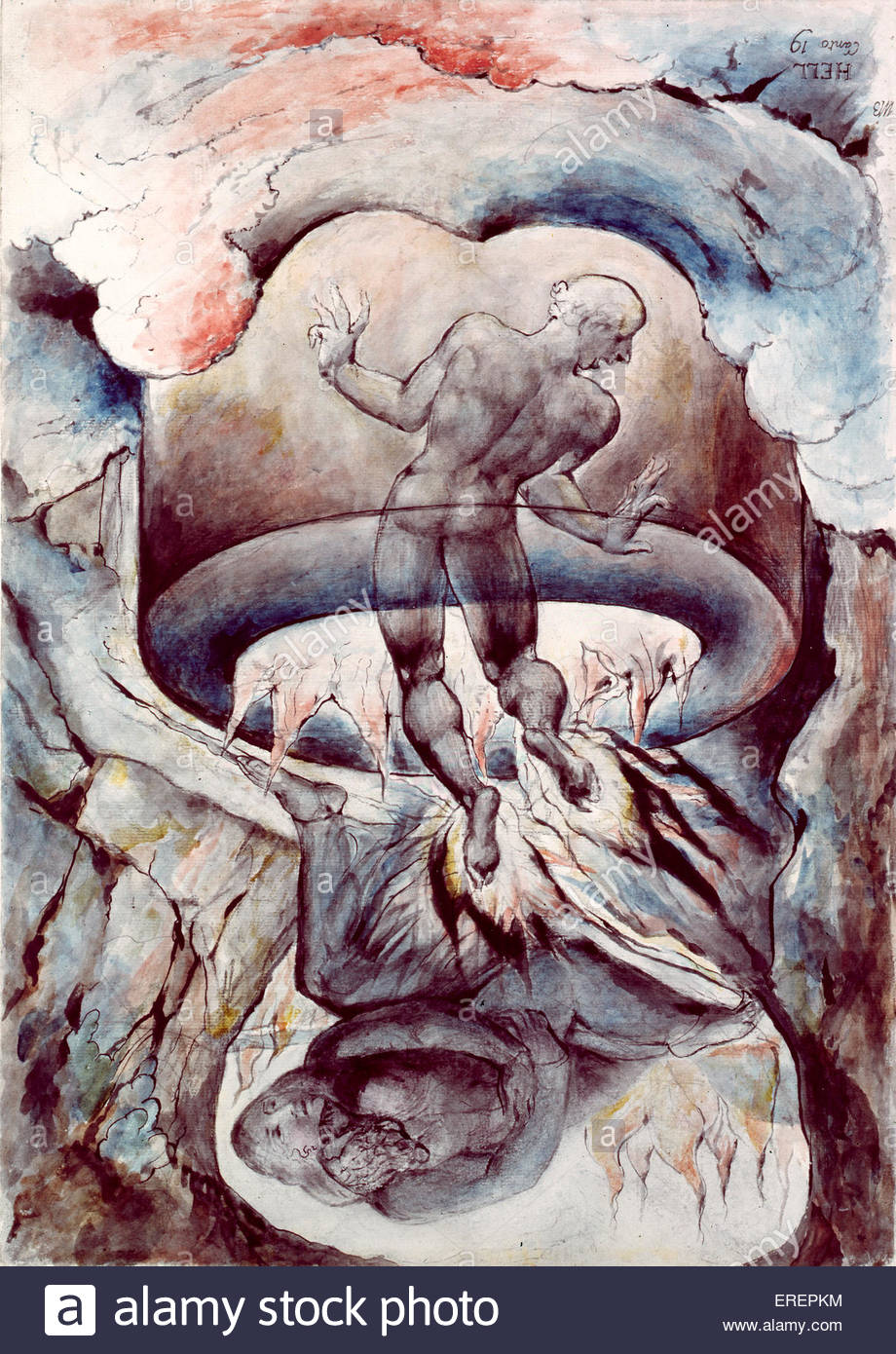 The Simoniac Pope by William Blake, 1824- 27. Shows Pope Nicholas III 's punishment for simony by being suspended - Stock Image