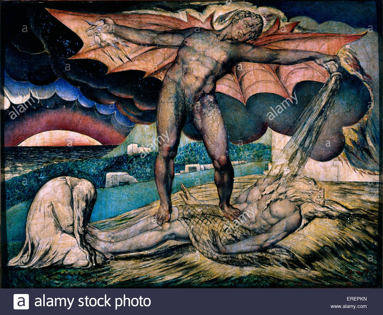 Satan Smiting Job with Sore Boils by William Blake,   circa 1826.  Pen, ink and tempera on mahogany;  support: 326 - Stock Image