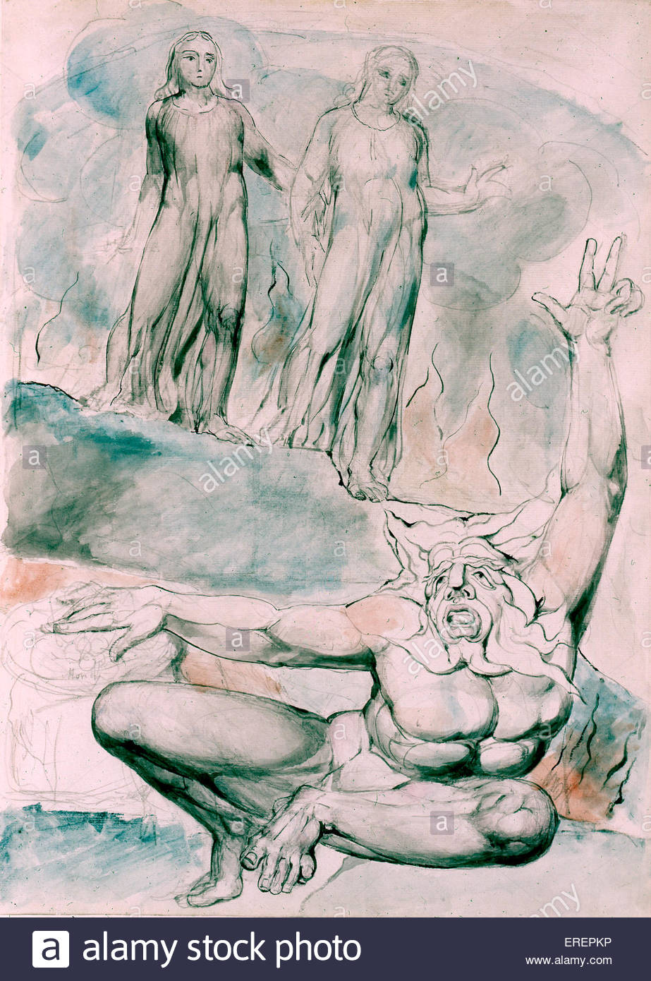 Plutus  by William Blake, 1824- 27. From 'Illustrations to Dante's Divine Comedy'. Scene from Inferno. - Stock Image