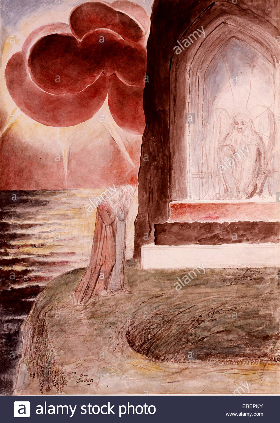 Dante and Virgil Approaching the Angel Who Guards the Entrance of Purgatory  by William Blake, 1824-7. From 'Illustrations - Stock Image