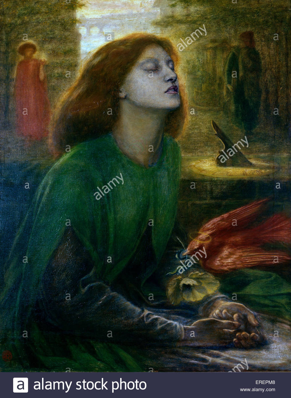 Beata Beatrix by Dante Gabriel Rossetti,  c.  1864-70.  Oil on canvas; support: 864 x 660 mm frame. DGR: English - Stock Image