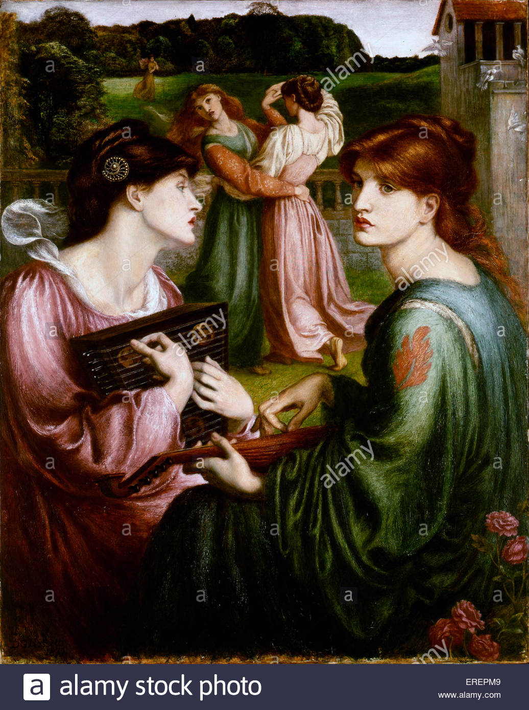 The Bower Meadow by Dante Gabriel Rossetti, 1850-1872. Background of  work painted outdoors, 1850, Sevenoaks, Kent, - Stock Image