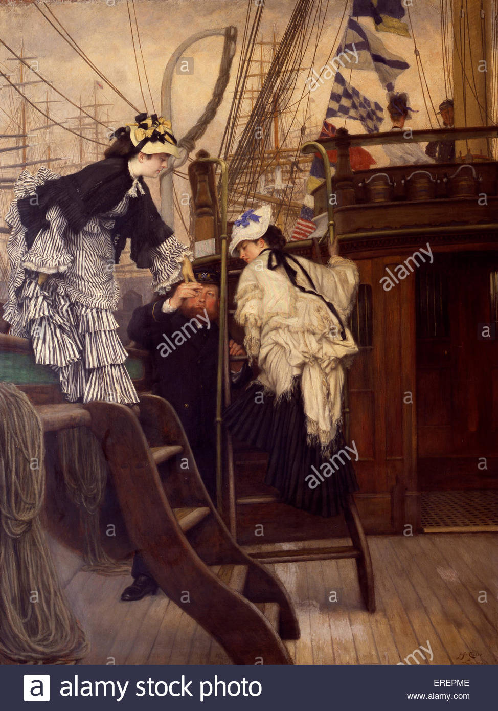 Boarding the Yacht by James Tissot. French painter, 15 October 1836 – 8 August 1902. - Stock Image