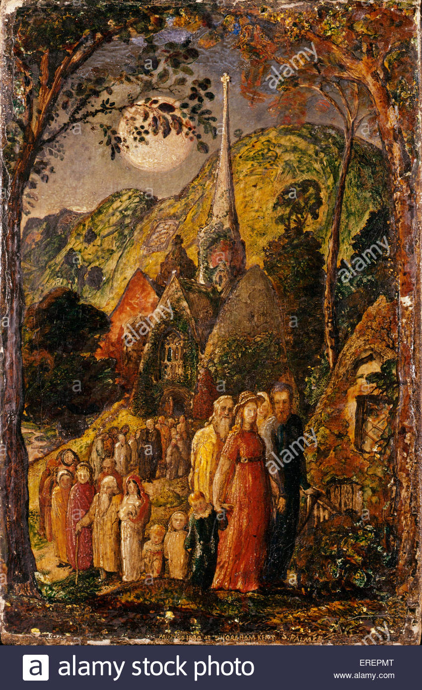 Coming from Evening Church by Samuel Palmer, 1830. Mixed media on gesso on paper, support: 302 x 200 mm. SP: English - Stock Image