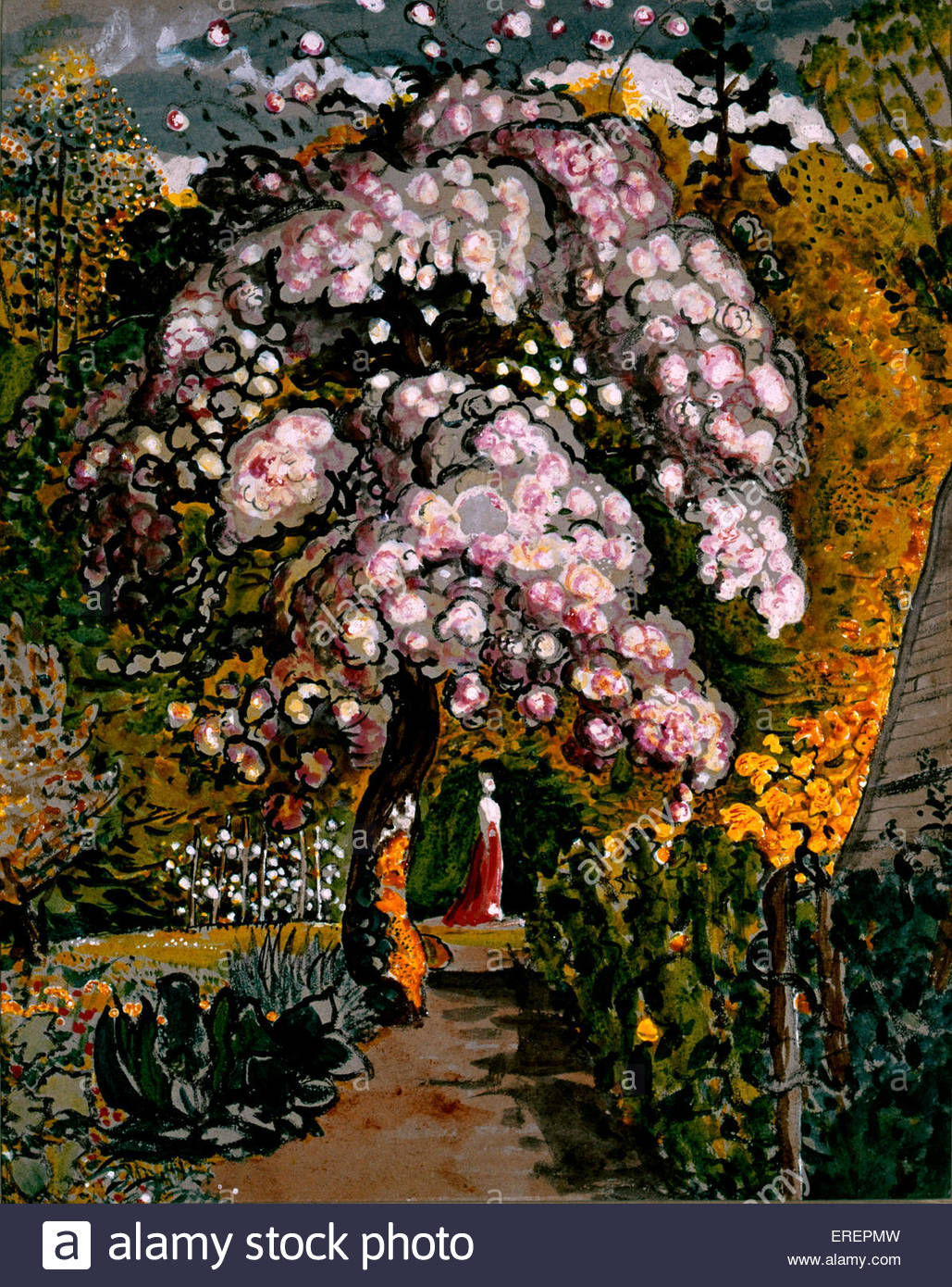 In Shoreham Garden  by Samuel Palmer, 1830. Watercolour.  SP: English painter, etcher and print maker, 27 January - Stock Image