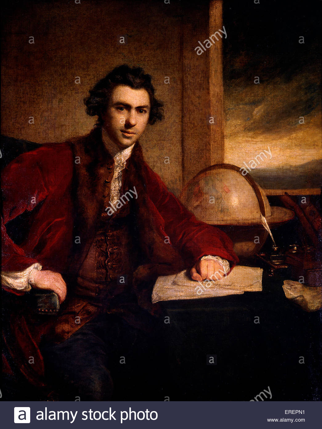 Sir Joseph Banks by Sir Joshua Reynolds, 1771-3. Oil on canvas, 127 x 101.5cm. JR: English painter 16 July 1723 - Stock Image