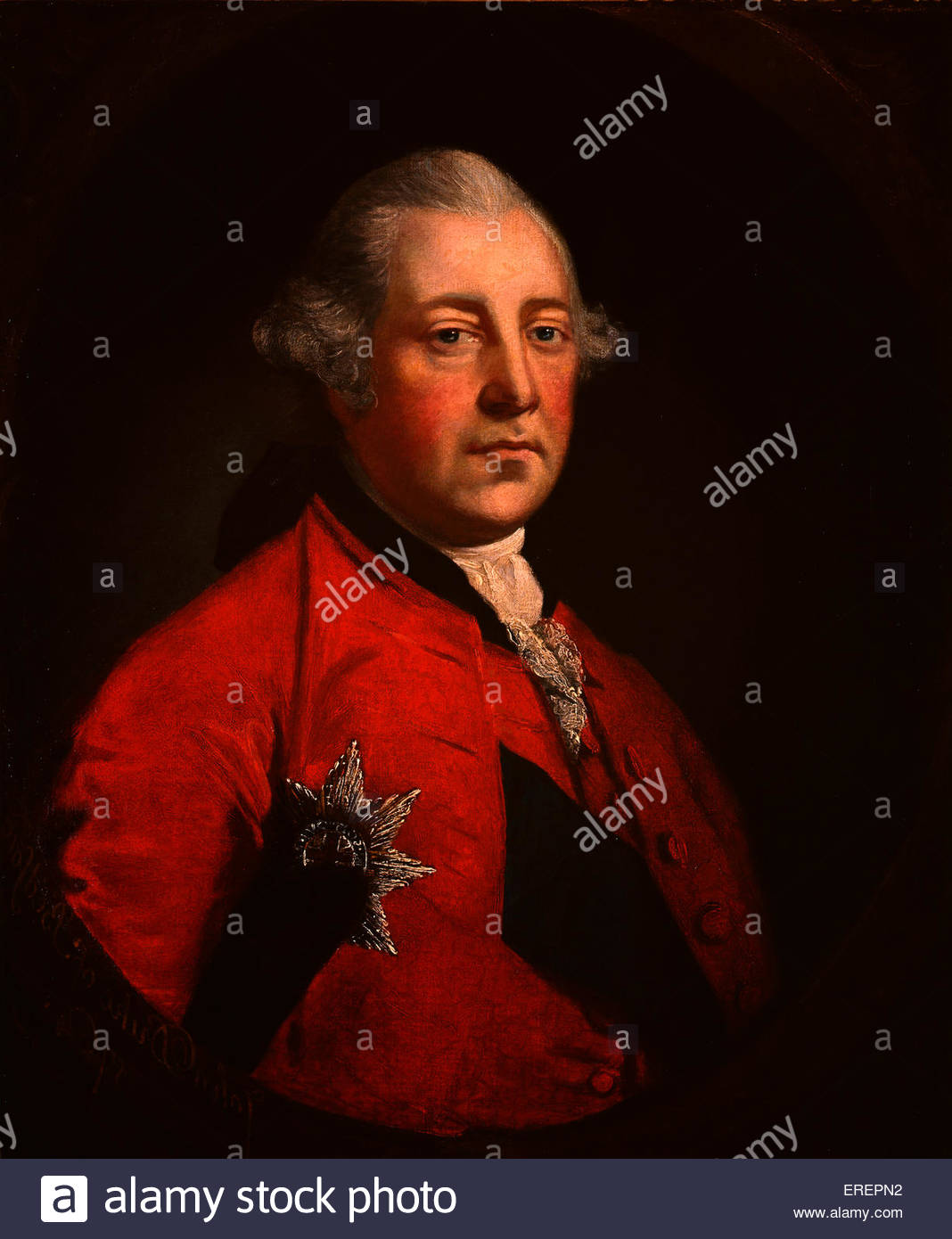 John Russell, 4th Duke of Bedford by Sir Joshua Reynolds, copied from the portrait by Thomas Gainsborough,  JR: - Stock Image