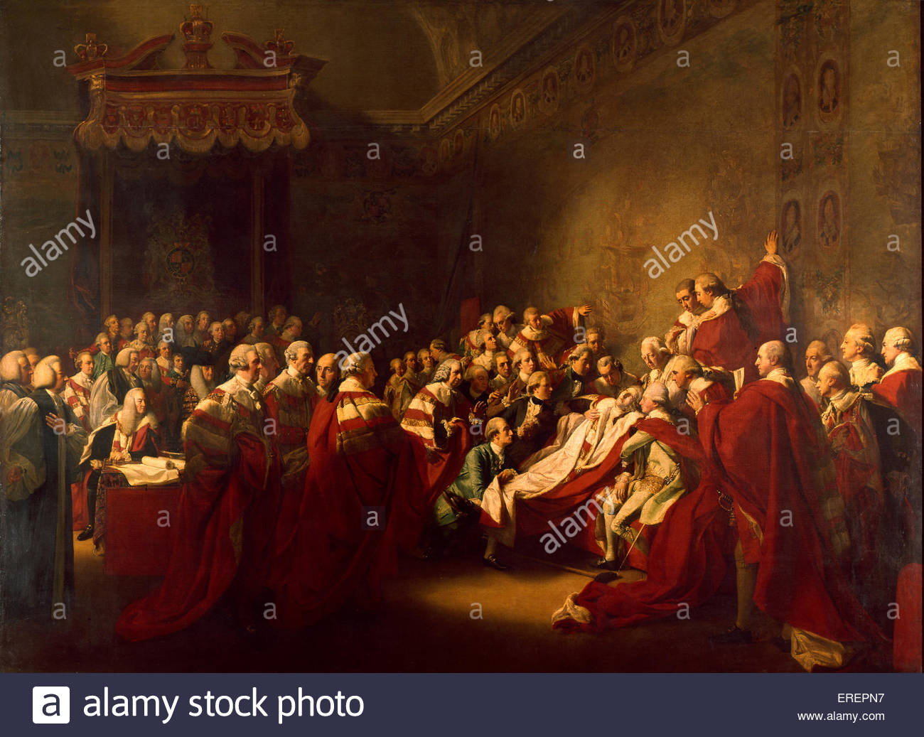 The Death of the Earl of Chatham by John Singleton Copley, 1779. Oil on canvas, 52.7 x 64.2 cm. Depicts the death - Stock Image