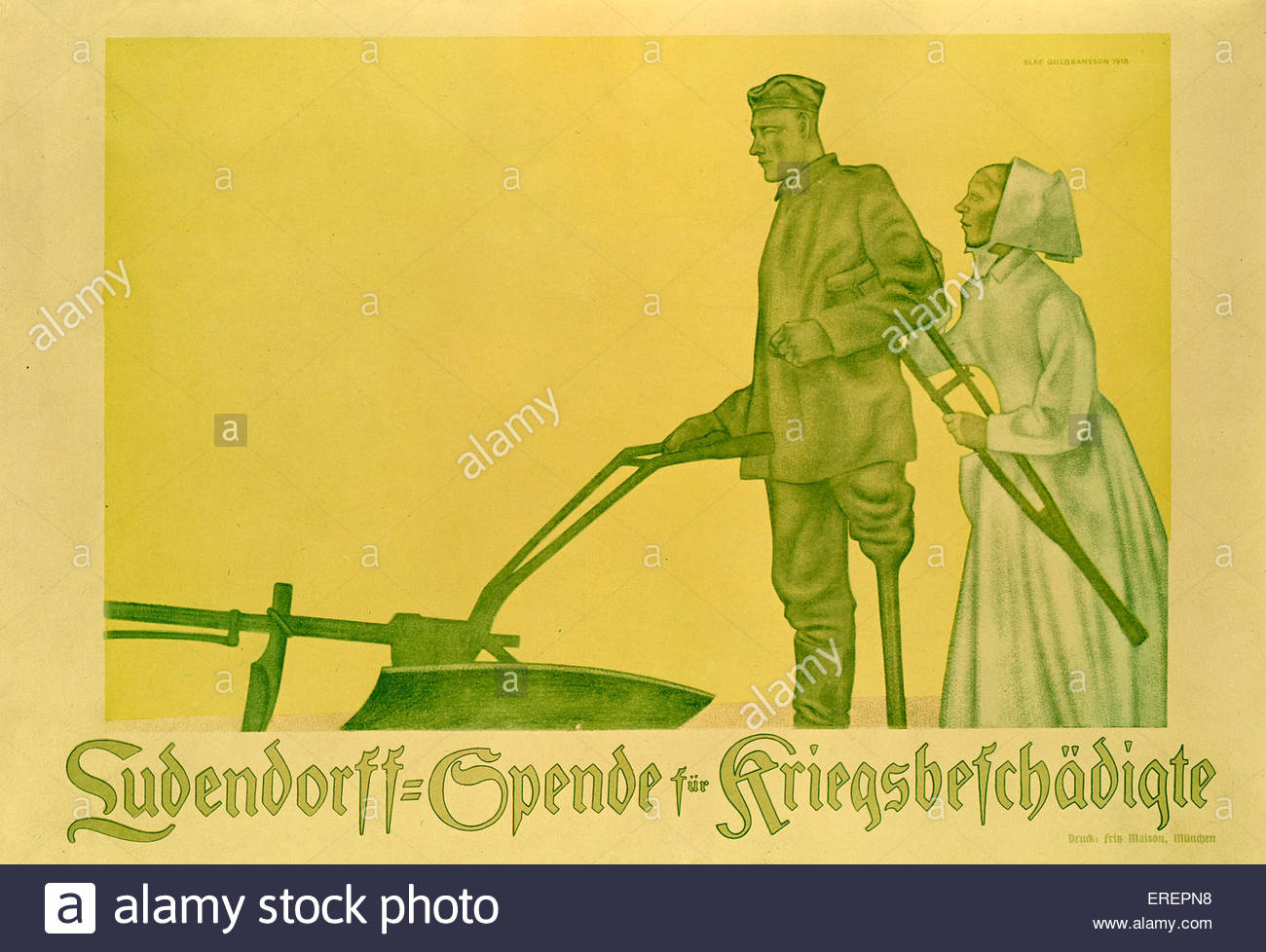 World War I poster - German, advertising fund for wounded soldiers. Caption reads: 'Ludendorff- Spende für - Stock Image