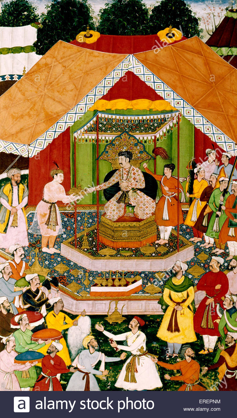 Akbar is entertained by his foster brother Azim Khan at Dipalpur. Jagan (composition, artist), Sur Das (painting, - Stock Image