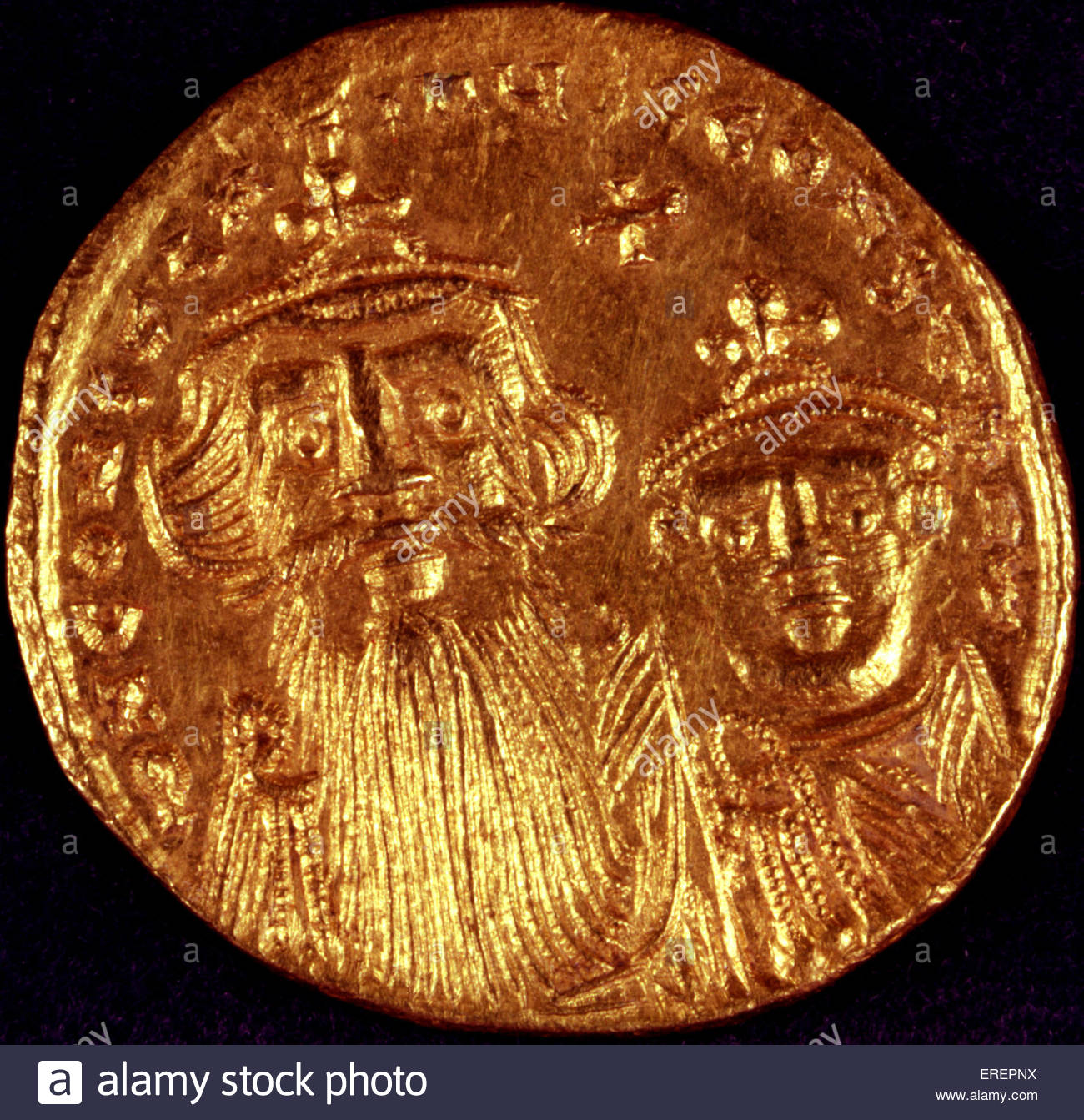Byzantine Gold Coin. With depiction of emperor. - Stock Image