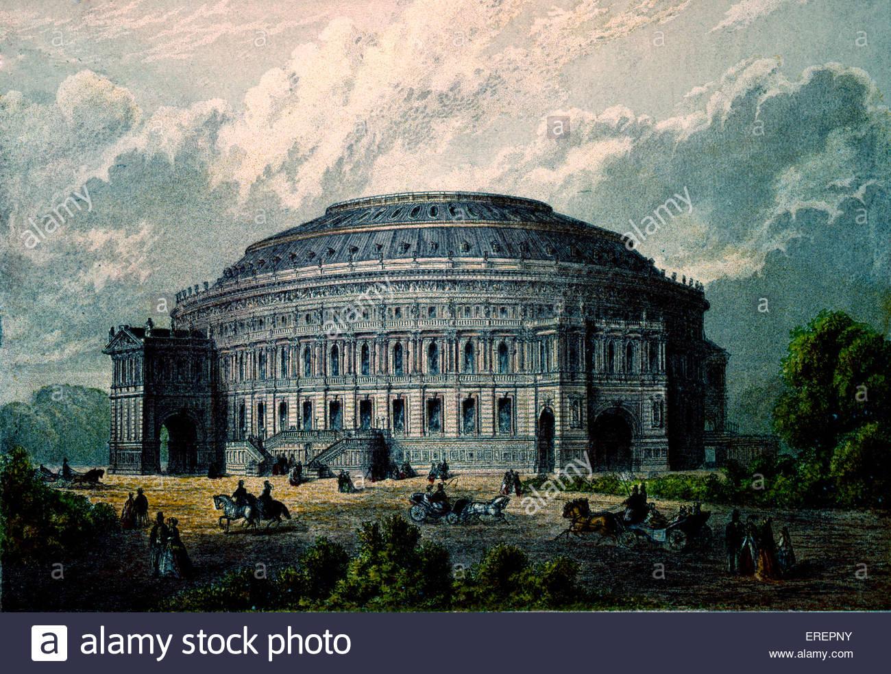 Royal Albert Hall - engraving, 2 November,1888. By Kronbeim & Co. London, UK. - Stock Image