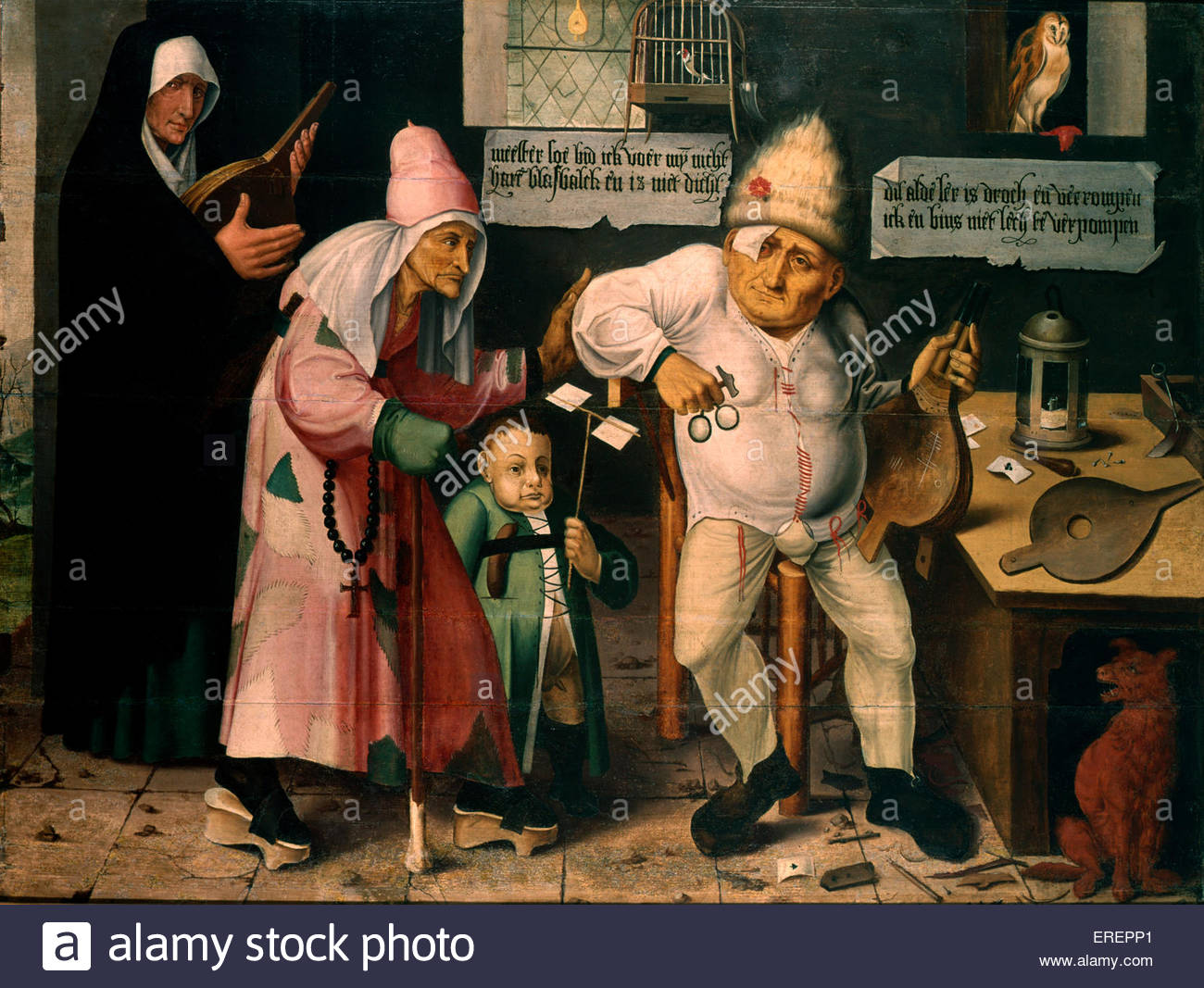 The Bellow Mender by Hieronymus Bosch. Flemish painter, c. 1450 –  9 August 1516 (buried). - Stock Image