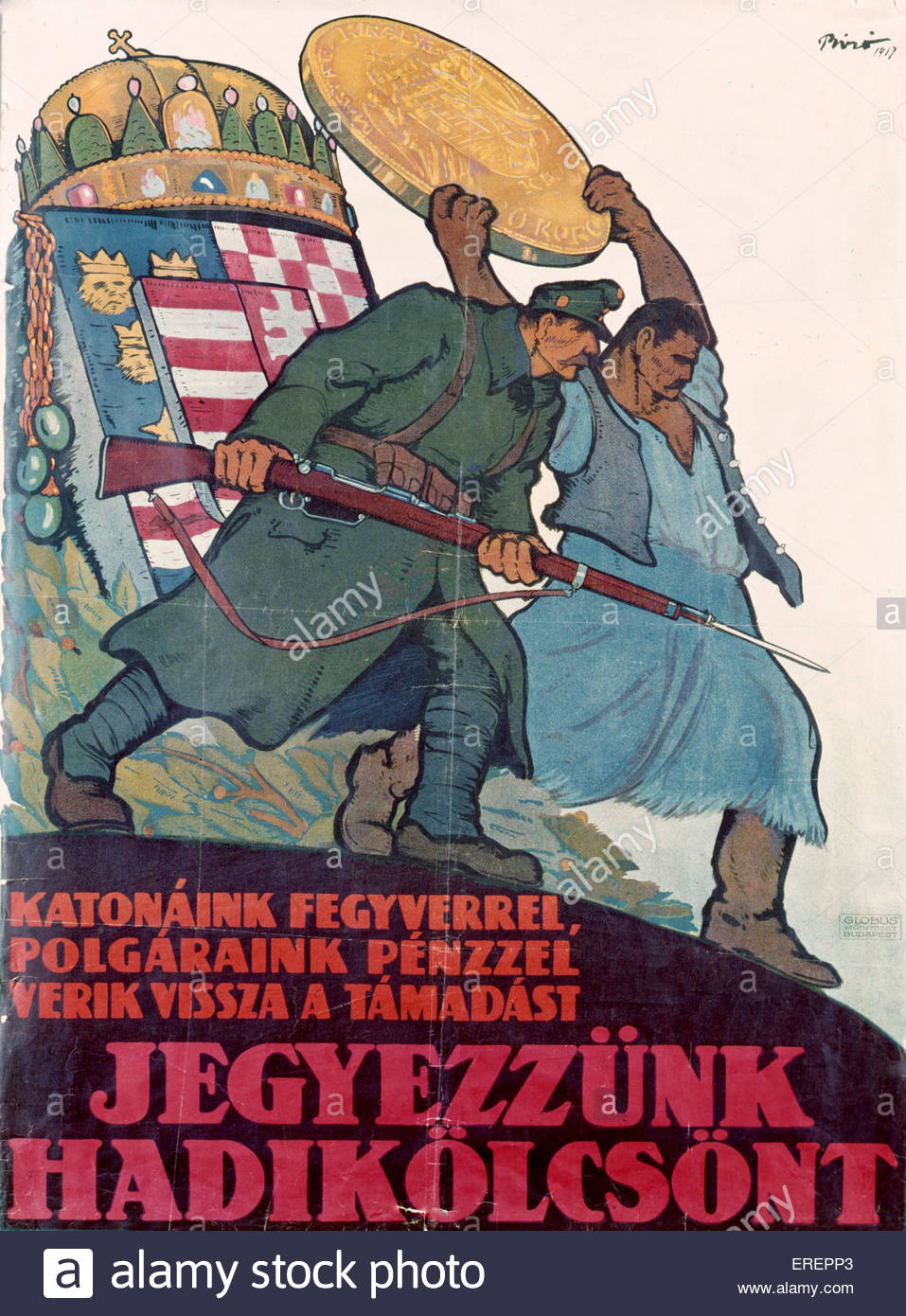 World War I poster - Hungarian, 1917. Encouraging people to apply for a war loan. ['Our soldiers with guns, - Stock Image