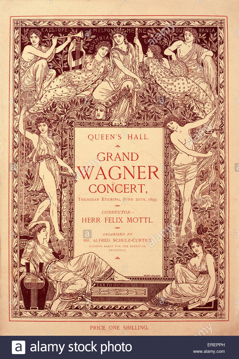 Richard Wagner concert - programme. Performed 20th June  1895, Queen's Hall, London.  Conducted by Felix Mottl. - Stock Image