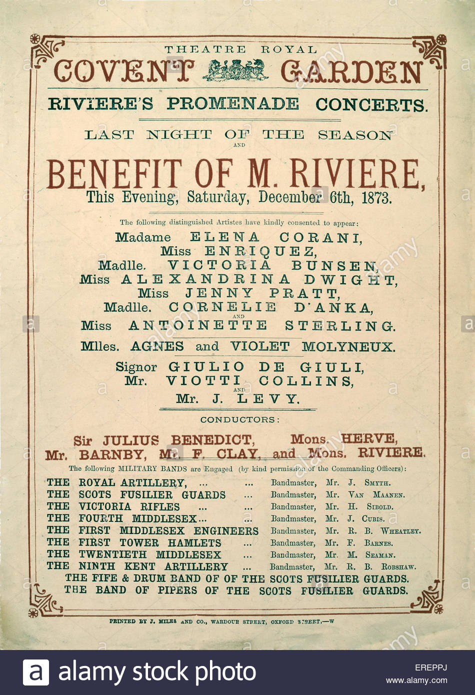Riviere's Promendade Concerts - announcement of closing night, 6 December 1873. Performed at the Theatre Royal, - Stock Image
