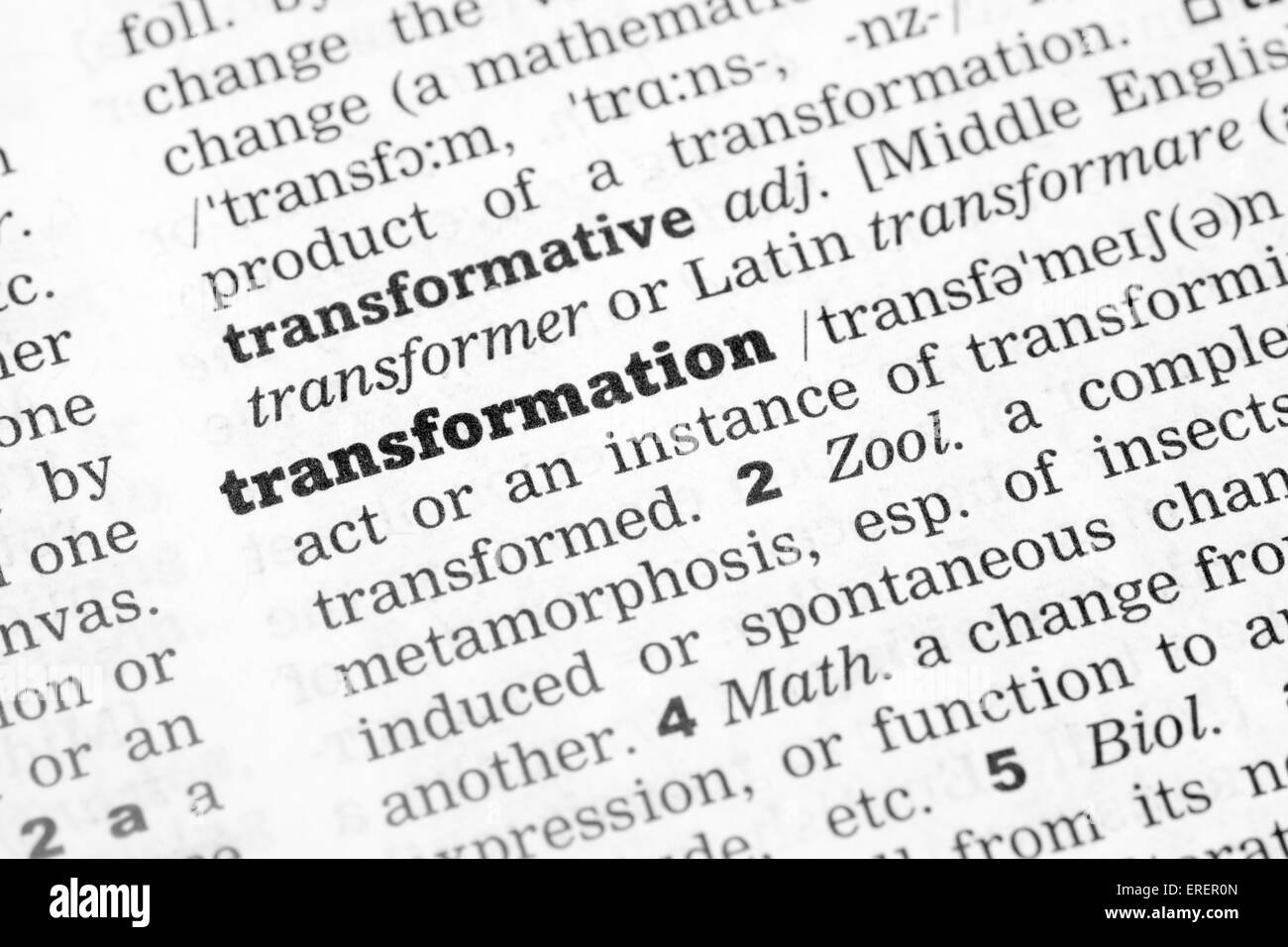 Dictionary definition of the word Transformation - Stock Image